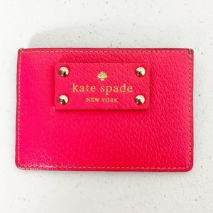 KATE SPADE Hot Pink Cow Leather Mini Card Holder
